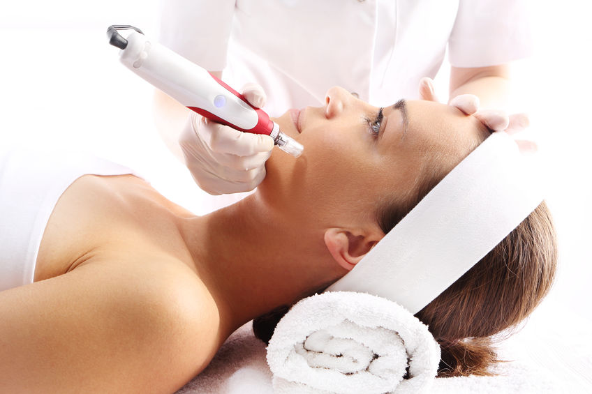a woman receiving a microneedling treatment in Brandon FL